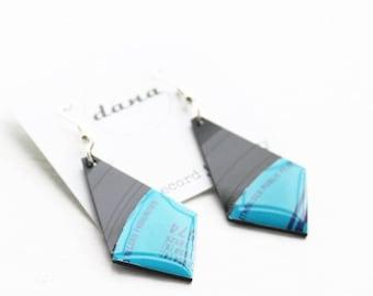 geometric dangle earrings statement earrings funky earrings unique jewelry music jewelry geek earrings vinyl record earrings gift for her
