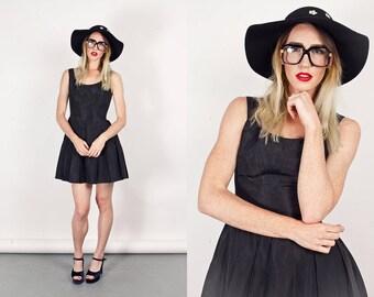 Vintage 80s Party Dress Black Sleeveless Petticoat Taffeta Dress