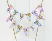 Just Married Cake Topper - Wedding Cake Bunting - Floral Tea Party - Gold, Mint, Peach, Lilac