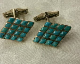 Vintage Sterling & Turquoise Cufflinks * Native American (?)