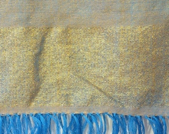 Light blue and gold shimmery hand-woven cotton scarf from Ethiopia