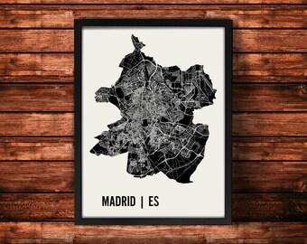 Madrid Map Artwork   Map of Madrid   Madrid Spain Map   Madrid City Map   Madrid Poster   Madrid Wall Art Print