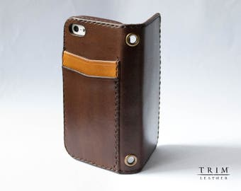 iPhone SE 5 5s Leather Wallet with Rear Pockets [Handmade] [Custom Colors]
