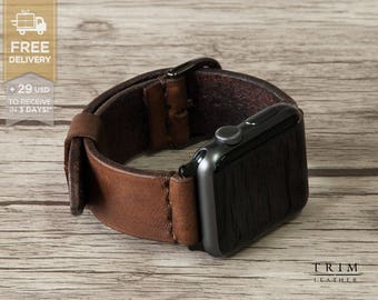 Apple Watch Band Leather Watch Band Minimal Series 1 and 2 [Handmade] [Custom Colors]