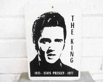 Vintage Elvis plaque sign memorial black and white, The King, Elvis memorabilia 1970's, Elvis wall art