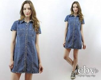 Denim Mini Dress 90s Dress 1990s Dress 90s Mini Dress Denim Dress Jean Dress Vintage Gap Dress Shirt Dress Fitted Denim Dress S