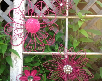 Magenta Pink Flower Fence & Wall Art - 'Magenta Magnificent' - 4 Eclectic Metal Flowers w/Bling - Metal Yard Art - Wall Fence Decor