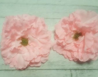 6 Light Pink Silk Peony heads - Artificial Flower - 6.5 inches - Wholesale Lot - for Wedding, Hair clips, Headbands, Hats