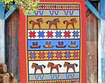 HIGH NOON | Quilt Patterns | PDF Pattern | Horse Quilt | Horses | Applique Quilts | Happy Quilts | Kids Quilts | Cowboy Quilt