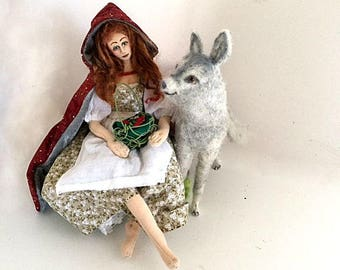 Art doll needle felted wolf Red Riding Hood fairytale cloth soft sculpture fantasy collectible