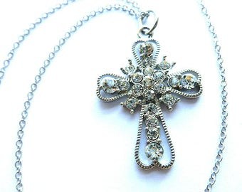 SPARKLING STARBURST Vintage Cross, Silver & Crystal Cross Pendant, Vintage Silver Openwork Cross Necklace, Glamorous Cross with Neck Chain