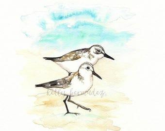 Sandpiper Love, Love Birds, Romance, watercolor printable,  watercolor, beachy,  Artist Kelly Bermudez