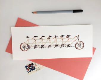 Bike Card + Bicycle + Illustration + Postcard