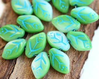 12x7mm Spring Green Leaf beads, Mixed Green with Blue Inlays, Czech glass pressed leaves - 25Pc - 0955