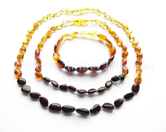 Baltic Amber Teething Set for Baby and Mommy, Rainbow Color Olive Form Beads