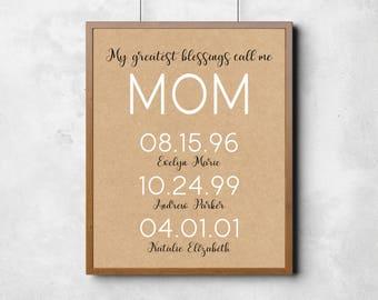 Mom Art Print, Mothers Day Gift for Mom, Custom Mom Date Print, Anniversary Gift for Her, Kraft Print , Custom Date Print, Grandma Gift