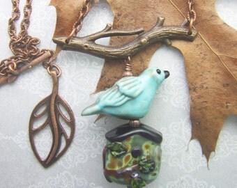 Copper Green Birdhouse Pendant, Torchwork Jewelry Handcrafted in North Carolina