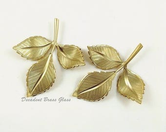 Raw Brass Leaves, Brass Leaf, Leaf Charm, Raw Brass Stamping, 39mm x 45mm - 2 pcs. (r326)