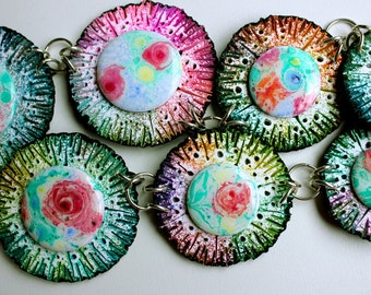 Polymer clay necklace,Ebru art,OOAK,green&pink,handmade kumihimo cord.