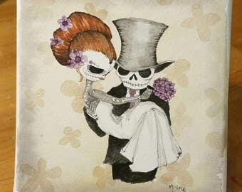 Dia De Los Muertos, Day of the Dead Couple, wedding gift for couple, skull art, sugar skull art, wedding