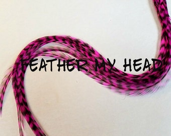Pink Bubble Gum Thin Long Grizzly Rooster Hair Extension Feathers