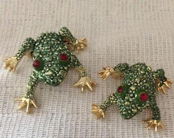 Vintage Green & Gold Enamel Frog Pins, Set of Two