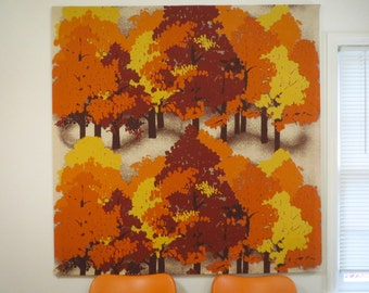 Vintage 1970s MID Century Modern Finlayson Finland Orange Trees Fabric Wall Art