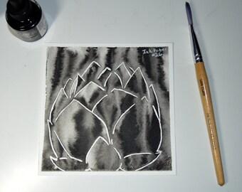 Lotus in Black - Original Painting - Ink