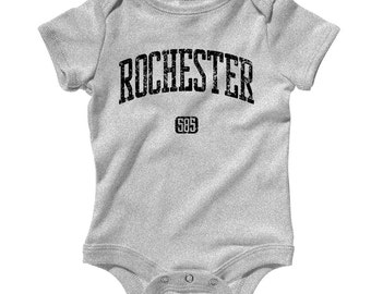 Baby One Piece - Rochester 585 New York - Infant Romper - NB 6m 12m 18m 24m - Baby Shower Gift, Rochester Baby, Flour City Baby, Flower City