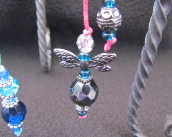 Wings - Bright Pink, Aqua Blue, Silver Beaded Bookmarks 8335