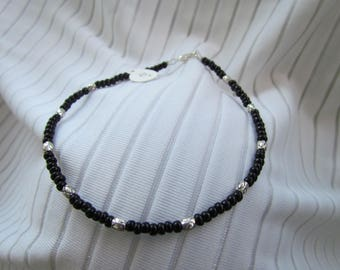 Black and Silver Anklet - Glass and Lead Free Pewter