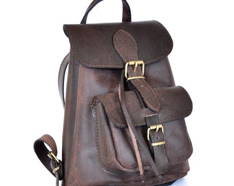 Small leather Backpack / Women distressed brown leather backpack / Small leather pouch