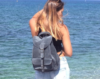 Large suede leather backpack / Women/Men black leather backpack