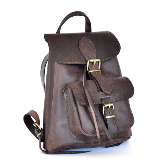 Small leather Backpack / Women distressed brown leather
