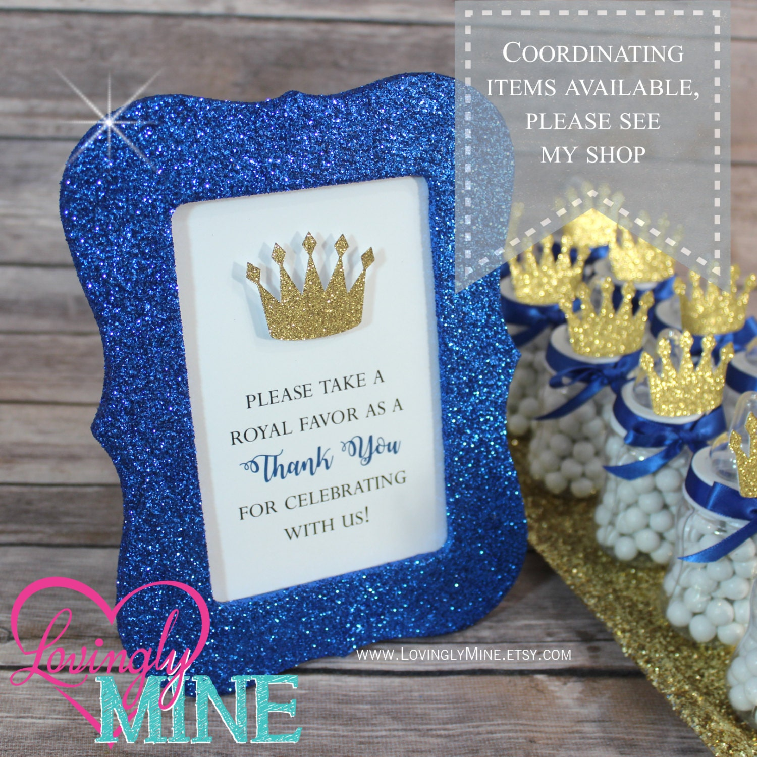 Prince Baby Shower Favors: 4 X 6 Frame Glitter Royal Blue Favor Table Sign Glitter Gold