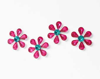 Hot Pink Flower Gem Refrigerator Magnets. Kitchen, Nursery, Kids Room Home Office Decoration. Perfect Spring, Summer Wedding Decor. Set of 4