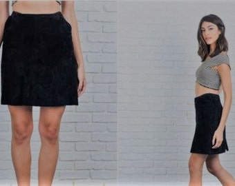 Vintage Black Suede Pencil Skirt - Size 6