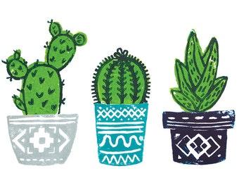 "Original Handmade Lino Cut Art Print - Signed & Mounted - 12x10"" - 'Trio of Cacti' - Blue, Navy, Grey Cactus Pots - Vegan"