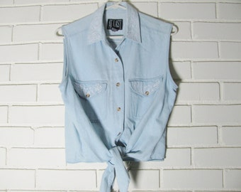 80's light denim tie waist shirt size M