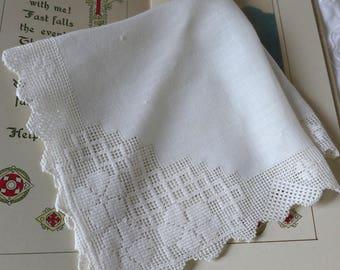 Vintage Laced Edged Handkerchief Deep lace edge Wedding Hanky Vintage lace bordered antique handmade handkerchief