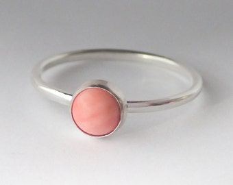 Coral Ring - Stackable Sterling Silver Natural Angel Coral Ring