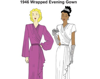 RH1419 — 1946 Wrapped Evening Gown