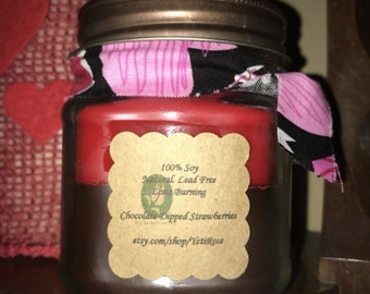 8oz 100% Soy Candle in CHOCOLATE DIPPED STRAWBERRIES scent. Natural. Long Burning. Eco Friendly.