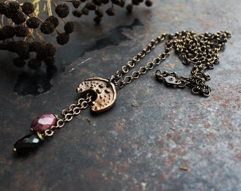 Maiden of the Moon -bronze clay crescent necklace, moon necklace with black and pink tourmaline, lunula necklace, Nordic mythology necklace