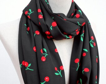 Cherry Scarf, Black and Red Scarf, Loop Infinity Circle Scarf, Cherry Print Scarf