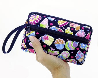 Dessert zipper pouch, Wristlet wallet, Cosmetic bag, Cell phone bag, iPhone wallet case, Cotton zipper clutch