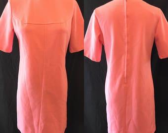 Mod retro pink knit day mini dress 1970 small medium