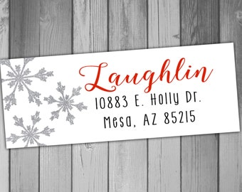 Christmas Return Address Label Christmas Labels Holiday Return Address Labels Printable Return Address Labels Snowflake Christmas