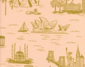 Les Fleurs City Toile in Peach Lawn by Rifle Paper Co for Cotton and Steel