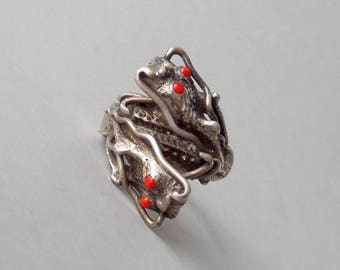 Antique Chinese Silver Dragon Ring. Twin Dragons. Size 11.25 Mens Ring